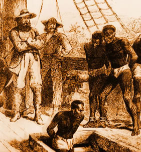 Slaves forced on board ship