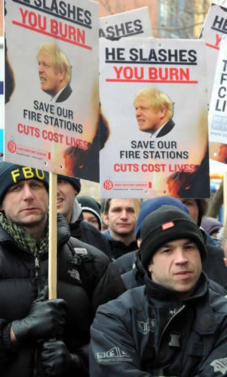 London firefighters demo