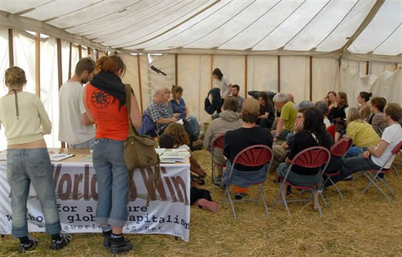 A World to Win workshop at Climate Camp