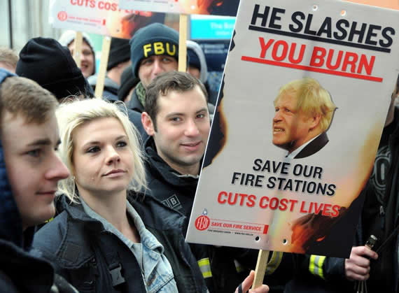 Firefighters London demo