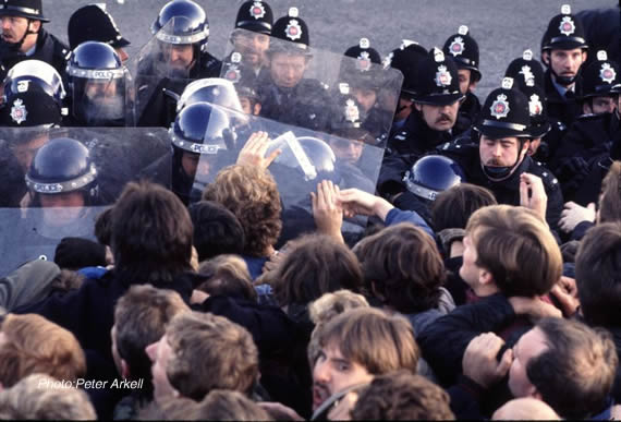 Police pushing miners on a picket line
