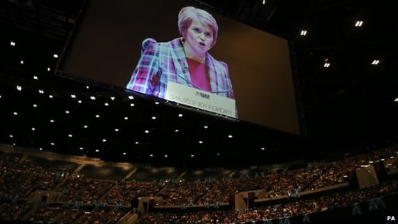 sturgeon at mass rally after the referendum